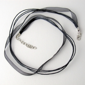 Black Corded Ribbon Necklace with Lobster Clasp