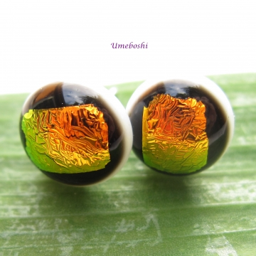 Brilliant Sunset Handmade Round Dichroic Glass Cabochon Post Jewelry Earrings