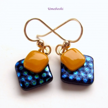 Sunny Side Up Polka Dotted Dichroic Glass Fun Handmade Dangle Earrings by Umeboshi Jewelry Designs