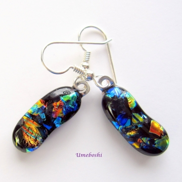 Colorful Autumn Landscape Handmade Dichroic Glass Dangle Earrings - Multicolored