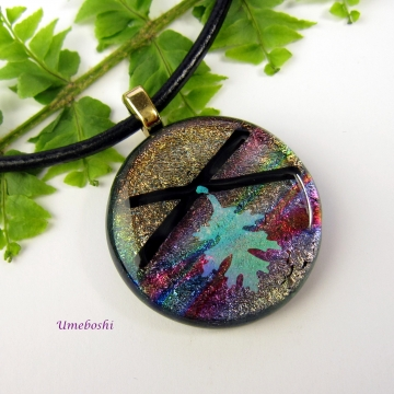 Whispering Oak Leaf Handmade Dichroic Fused Glass Cabochon Pendant