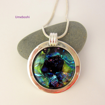 Blue Nebula Handmade Dichoic Fused Glass Cabochon Jewelry Pendant, Blue, Green with Silver Plated Setting