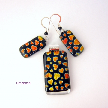 """Dichroic Fused Glass Pendant and Earring Set: """"All My Heart"""", Black with Red Orange Hearts Valentine and Love Jewelry"""