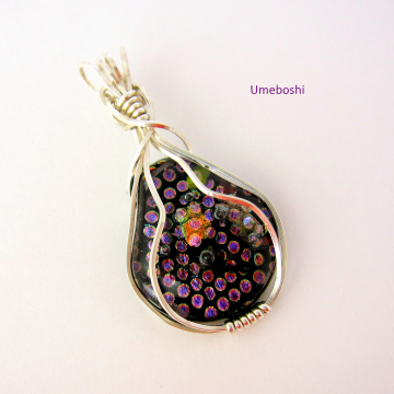 "Argentium  Silver Wire Wrapped Dichroic Glass Pendant - Handmade Fused Glass Jewelry ""Dotted Pear"""