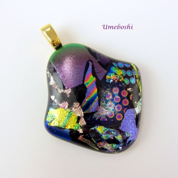 Oh La La!  Multicolored Handmade Dichroic Fused Glass Jewelry Pendant Brilliant Colors