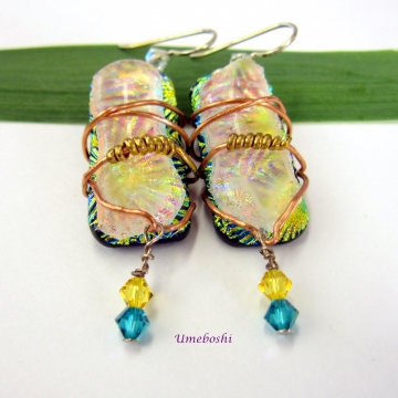 Wire Wrapped Boho Handcrafted Dichroic Glass Dangle Earrings  w Swarovski Crystals