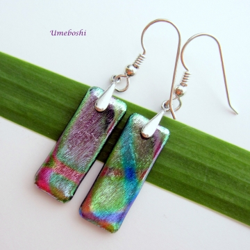 Metallic Silk Multicolored Dichroic Glass Handmade Dangling Earrings Sterling Silver