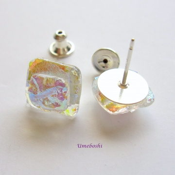 Stunning Iridescent Square Dichroic Glass Post Earrings in Rainbow Colors