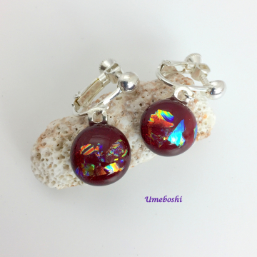Ruby Speckles Round Dichroic Glass Cabochon Screw Back Clip on Earrings