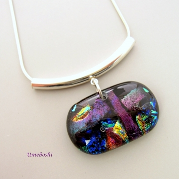 Color Symphony Handmade Dichroic Fused Glass Pendant with Curved Silver Tube Bail