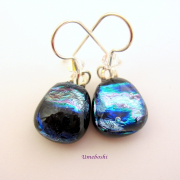 Dancing at Midnight Dichroic Fused Glass Dangle Drop Earrings Swarovsky Crystals Dark Blue