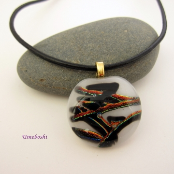Nature's Kanji Dichroic Fused Glass Cabochon Pendant, White, Black, Copper Red Necklace