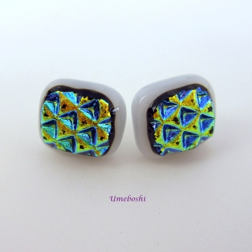 Fused Dichroic Glass Geometric Post Stud Earrings on White Base By Umeboshi Jewelry Designs