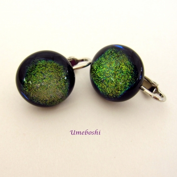 Sparkling Forest Green Brown Dichroic Fused Glass Clip On Earrings