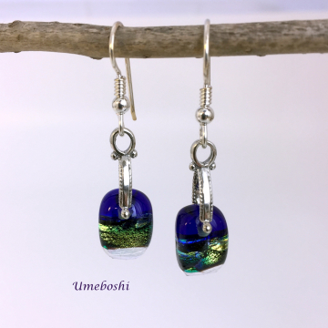 Forest Glow Dichroic Fused Glass Dangle Earrings with Sterling Silver Pinch Bail