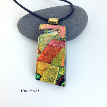 Fall Fantasy Large Dichroic Glass Jewelry Pendant