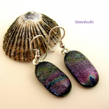 Spring Hyacinth Dichroic Glass Dangle Drop Earrings in Soft Colors
