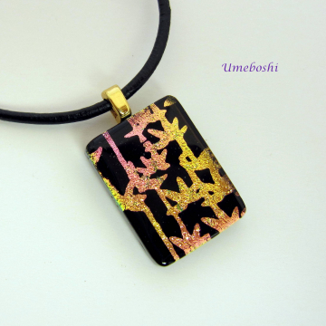 Handmade Dichroic Fused Glass Zen Bamboo Pendant on Black by Umeboshi Jewelry Designs