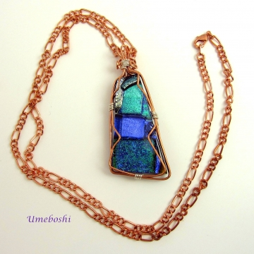 Oceana Large Dichroic Glass Copper Wire Wrapped Pendant with Copper Chain