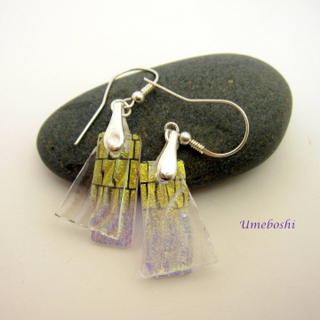Golden Mysteries Handmade Dichroic Glass Layered Earrings Iridescent Sparkling Glass w Gold Patterns