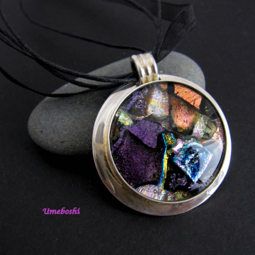 Mother Lode Large Handmade Dichroic Fused Glass Pendant Multi-Colored