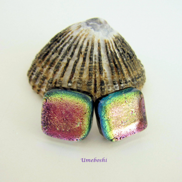 Watermelon Fused Dichroic Glass Square Post Stud Earrings By Umeboshi Jewelry Designs