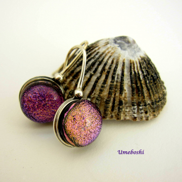 Moody Pink/Purple Dichroic Cabochon Handmade Dangle Earrings with Sterling Silver Setting